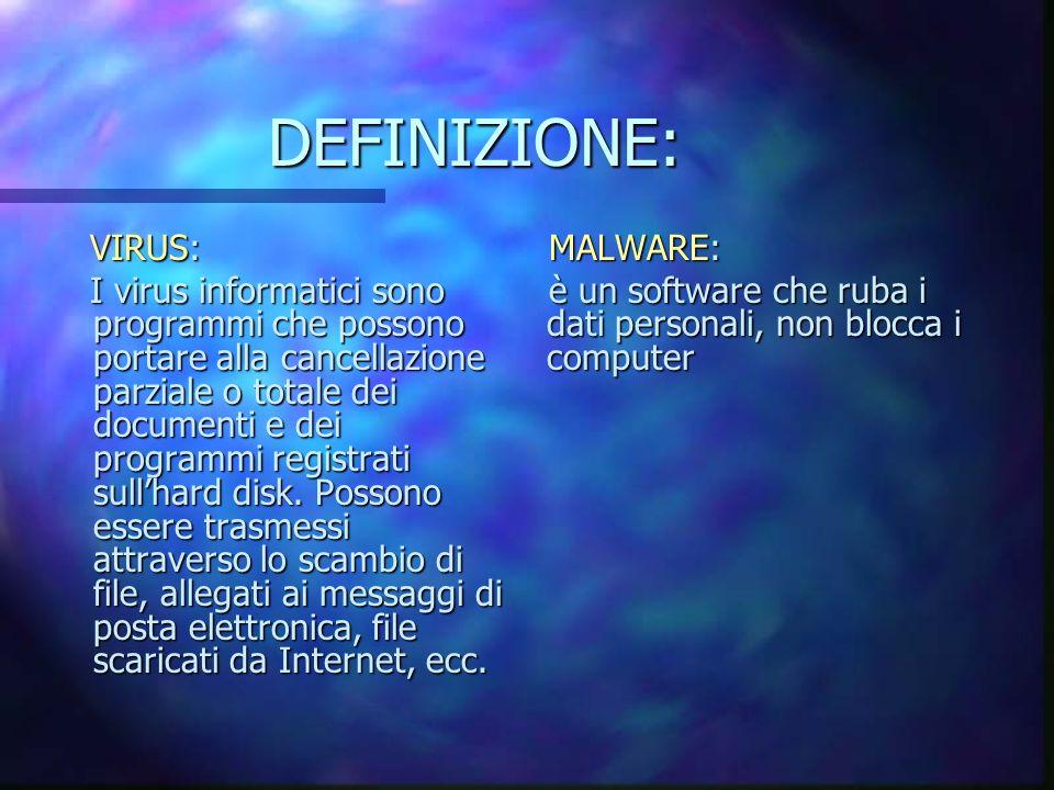 DEFINIZIONE: VIRUS: I virus informatici sono programmi che possono portare alla cancellazione parziale o totale dei documenti e dei programmi registrati sullhard disk.