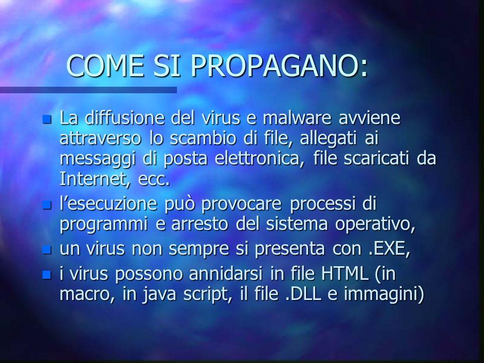 COME SI PROPAGANO: n La diffusione del virus e malware avviene attraverso lo scambio di file, allegati ai messaggi di posta elettronica, file scaricati da Internet, ecc.