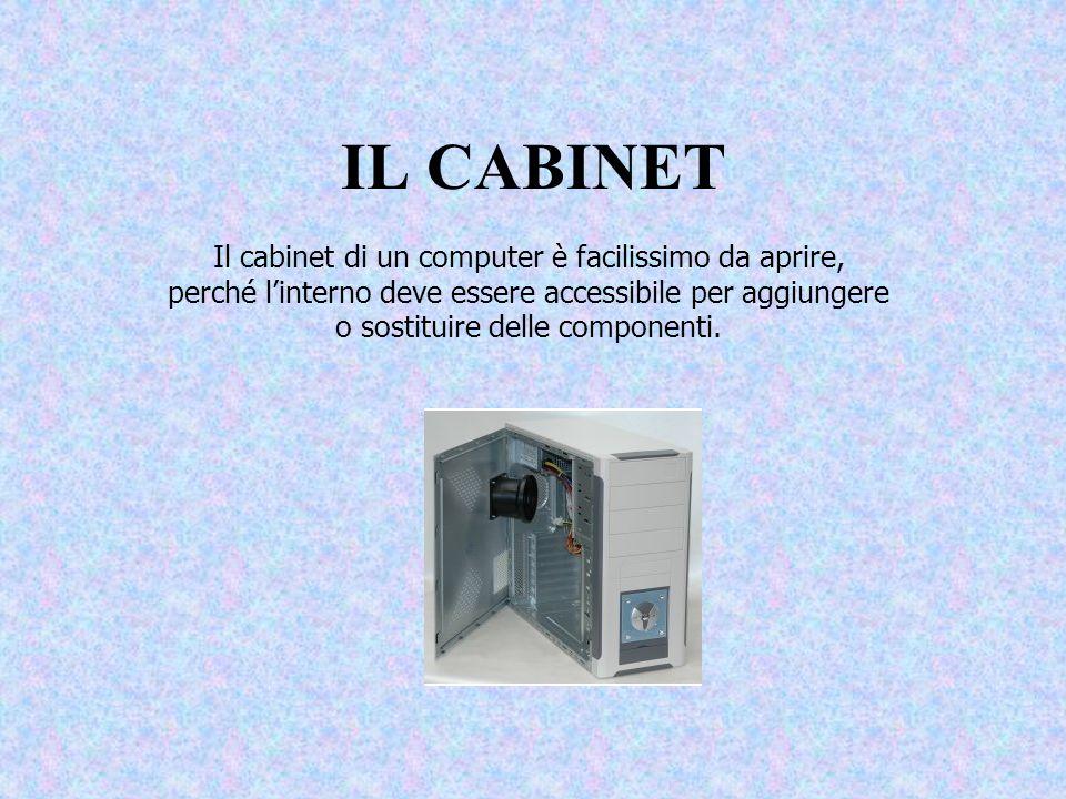 IL CABINET Il cabinet di un computer è facilissimo da aprire, perché linterno deve essere accessibile per aggiungere o sostituire delle componenti.