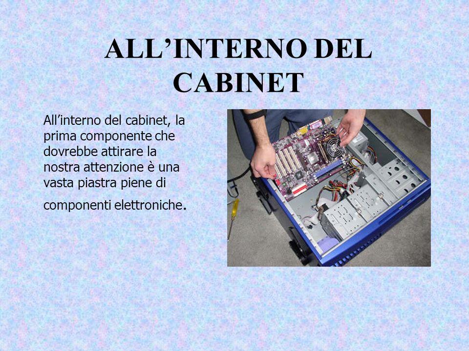 ALLINTERNO DEL CABINET Allinterno del cabinet, la prima componente che dovrebbe attirare la nostra attenzione è una vasta piastra piene di componenti elettroniche.