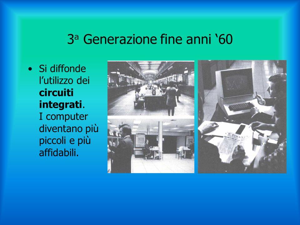 3 a Generazione fine anni 60 Si diffonde lutilizzo dei circuiti integrati.