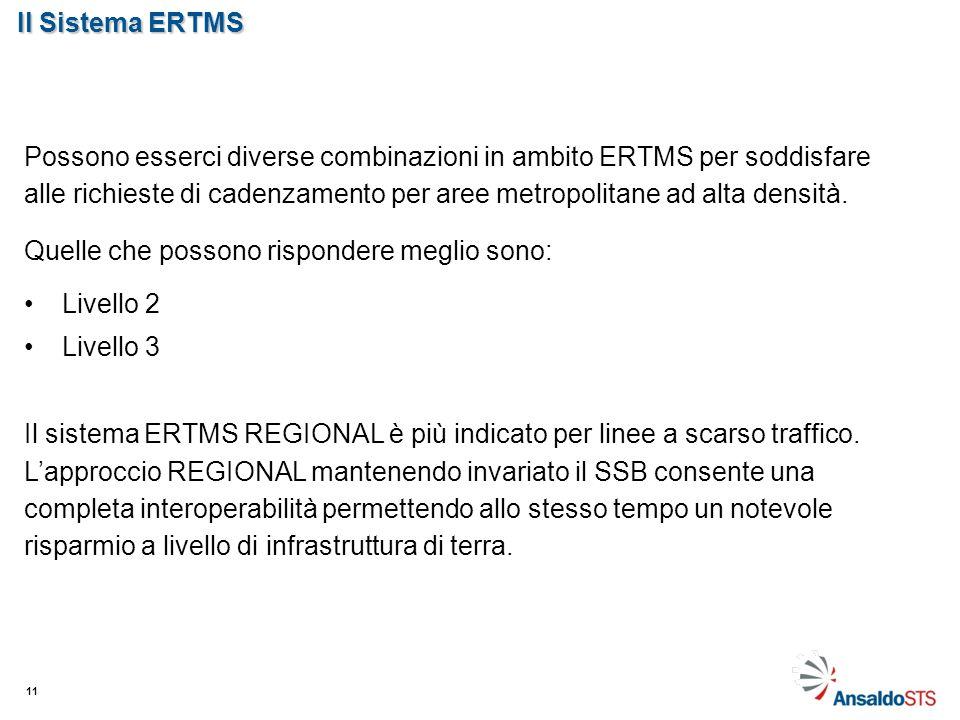 Il Sistema ERTMS 11 Possono esserci diverse combinazioni in ambito ERTMS per soddisfare alle richieste di cadenzamento per aree metropolitane ad alta