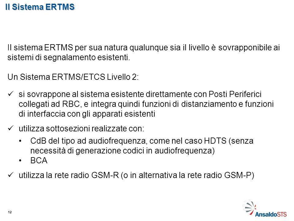 Il Sistema ERTMS 12 Il sistema ERTMS per sua natura qualunque sia il livello è sovrapponibile ai sistemi di segnalamento esistenti. Un Sistema ERTMS/E