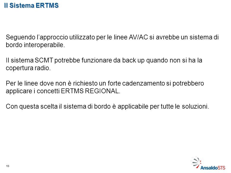 Il Sistema ERTMS 13 Seguendo lapproccio utilizzato per le linee AV/AC si avrebbe un sistema di bordo interoperabile. Il sistema SCMT potrebbe funziona