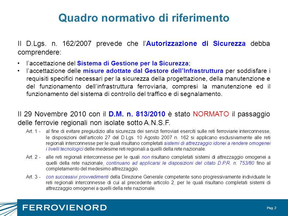 Pag. 2 Quadro normativo di riferimento laccettazione del Sistema di Gestione per la Sicurezza; laccettazione delle misure adottate dal Gestore dellInf