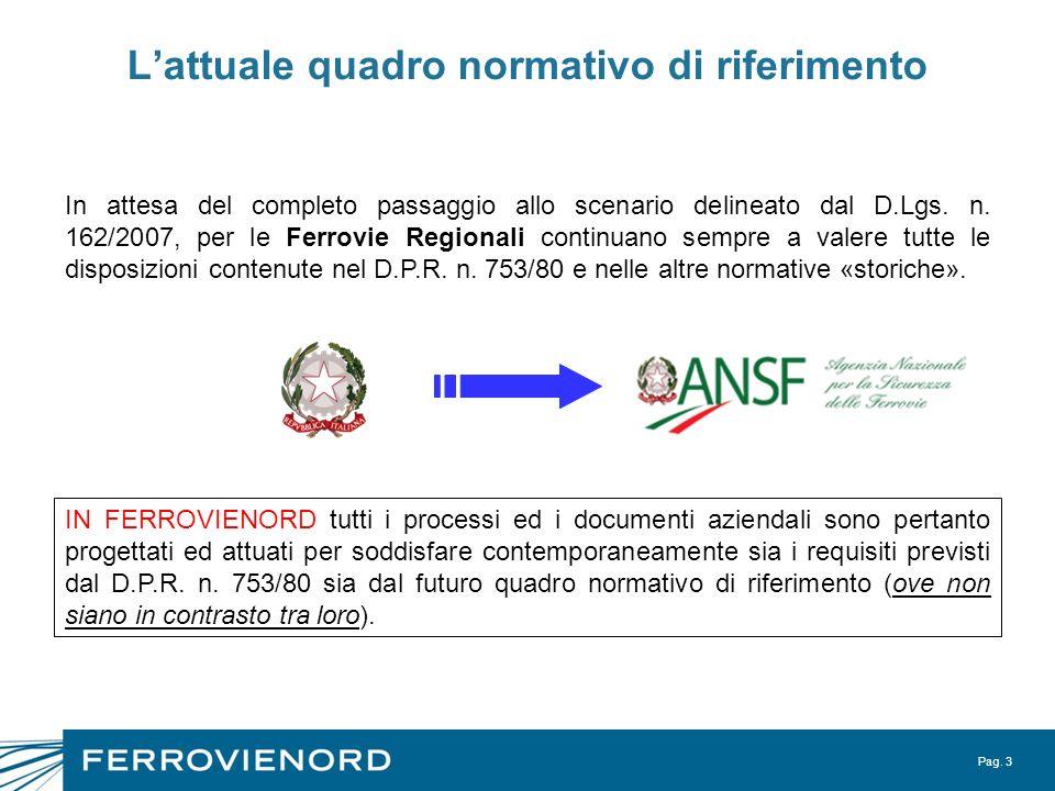 Pag. 3 Lattuale quadro normativo di riferimento In attesa del completo passaggio allo scenario delineato dal D.Lgs. n. 162/2007, per le Ferrovie Regio
