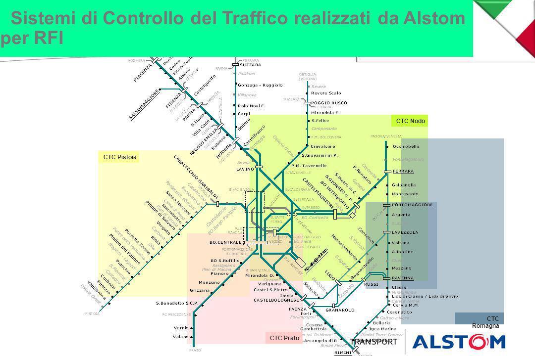 CTC Romagna CTC Pistoia CTC Prato CTC Nodo Sistemi di Controllo del Traffico realizzati da Alstom per RFI