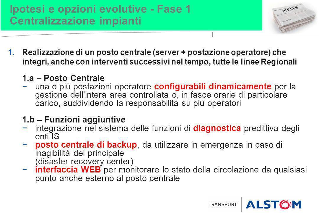 Ipotesi e opzioni evolutive - Fase 1 Centralizzazione impianti 1.Realizzazione di un posto centrale (server + postazione operatore) che integri, anche