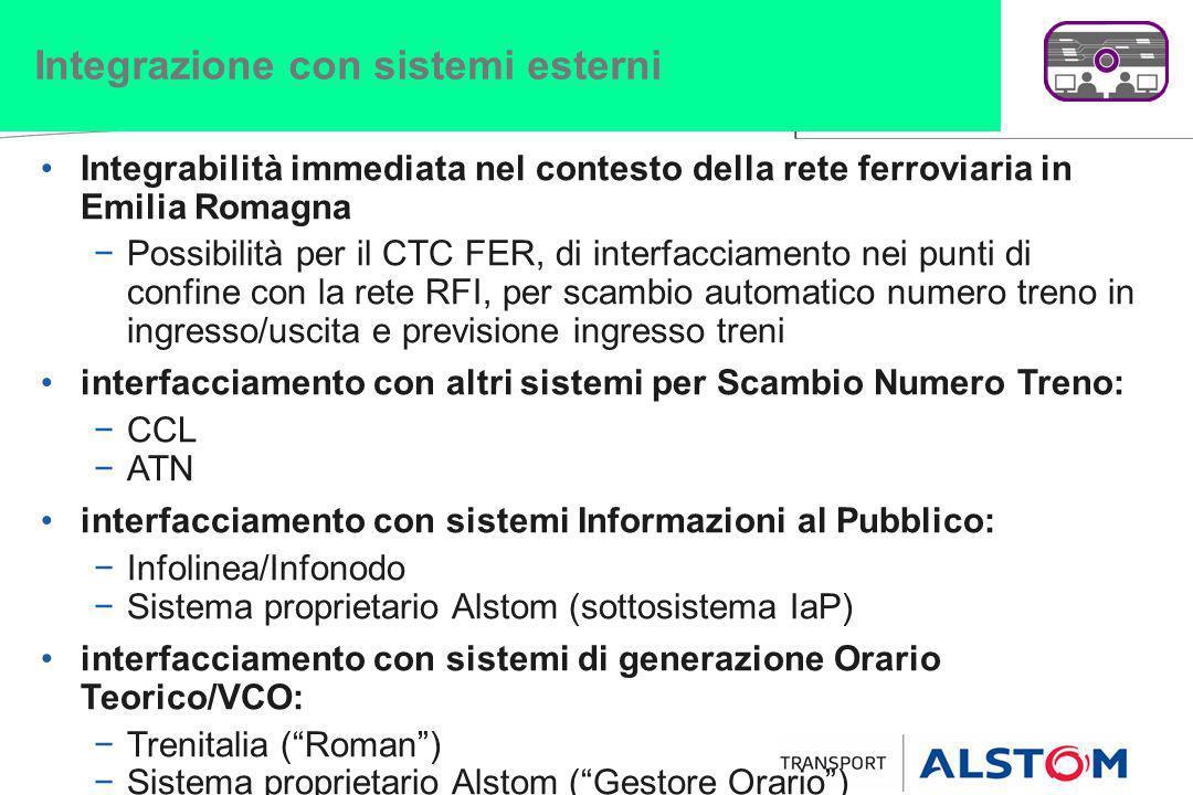 Integrazione con sistemi esterni Integrabilità immediata nel contesto della rete ferroviaria in Emilia Romagna Possibilità per il CTC FER, di interfac