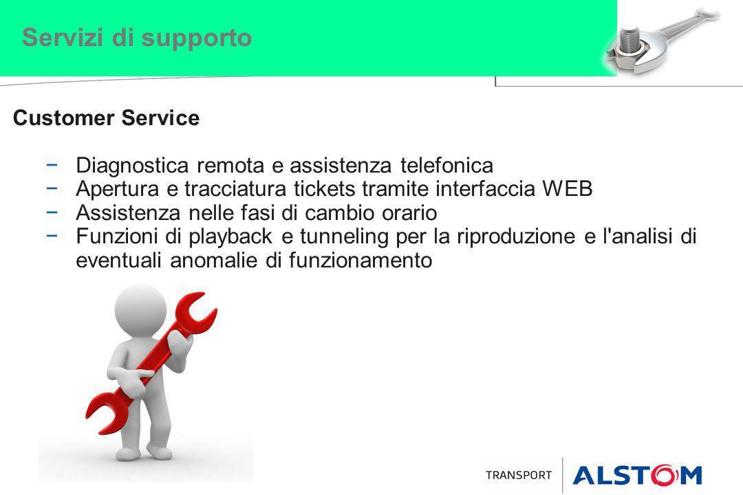 Servizi di supporto Customer Service Diagnostica remota e assistenza telefonica Apertura e tracciatura tickets tramite interfaccia WEB Assistenza nell