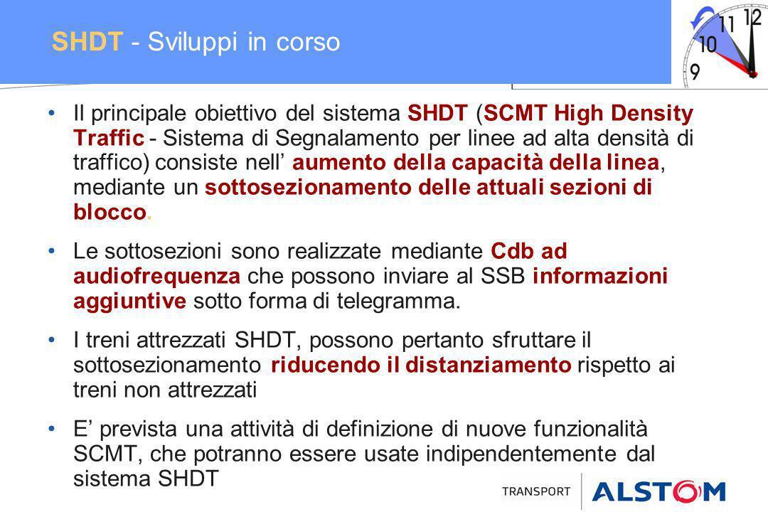 SHDT - Sviluppi in corso Il principale obiettivo del sistema SHDT (SCMT High Density Traffic - Sistema di Segnalamento per linee ad alta densità di tr