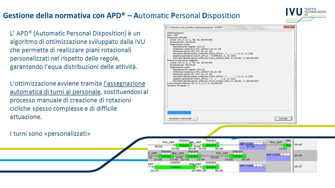 L APD® (Automatic Personal Disposition) è un algoritmo di ottimizzazione sviluppato dalla IVU che permette di realizzare piani rotazionali personalizz