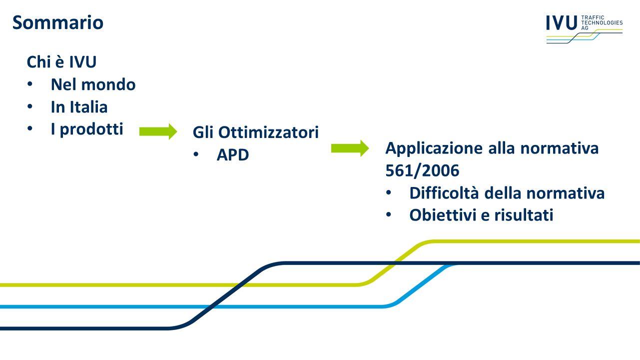 Sommario Chi è IVU Nel mondo In Italia I prodotti Gli Ottimizzatori APD Applicazione alla normativa 561/2006 Difficoltà della normativa Obiettivi e ri