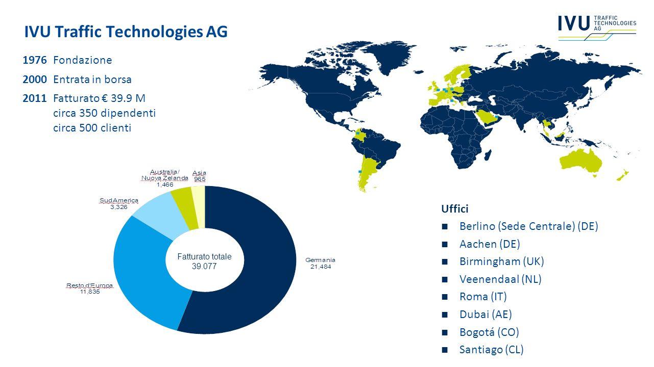 IVU Traffic Technologies AG 1976Fondazione 2000Entrata in borsa 2011Fatturato 39.9 M circa 350 dipendenti circa 500 clienti Uffici Berlino (Sede Centr