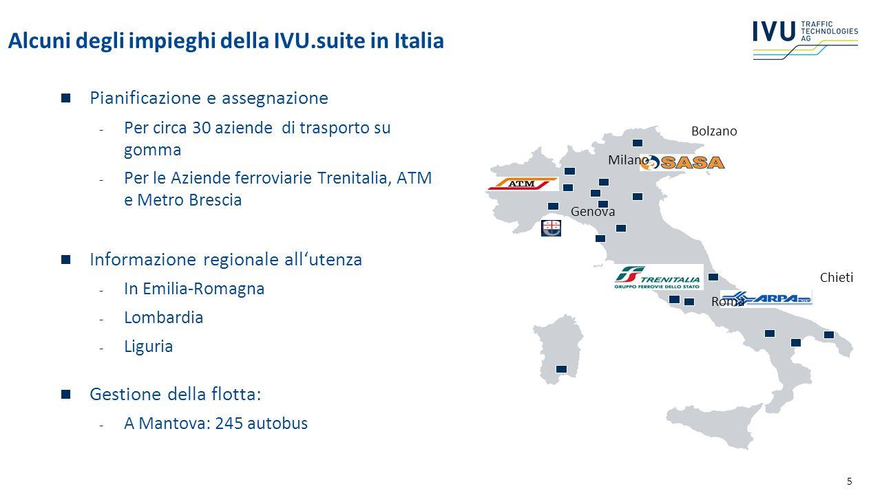 5 Alcuni degli impieghi della IVU.suite in Italia Pianificazione e assegnazione - Per circa 30 aziende di trasporto su gomma - Per le Aziende ferrovia
