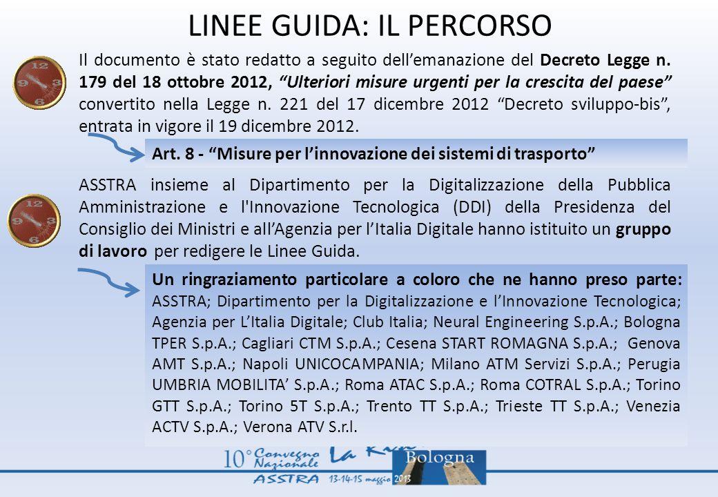 LINEE GUIDA: IL PERCORSO Il documento è stato redatto a seguito dellemanazione del Decreto Legge n. 179 del 18 ottobre 2012, Ulteriori misure urgenti