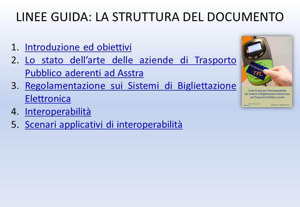 LINEE GUIDA: LA STRUTTURA DEL DOCUMENTO 1.Introduzione ed obiettiviIntroduzione ed obiettivi 2.Lo stato dellarte delle aziende di Trasporto Pubblico a