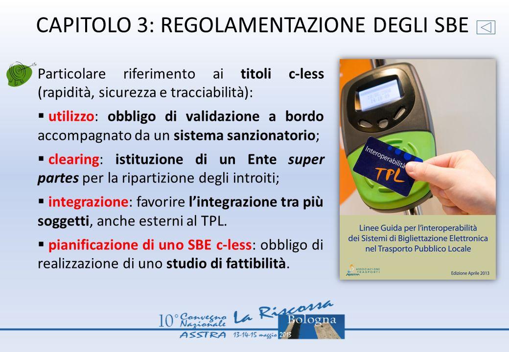 CAPITOLO 3: REGOLAMENTAZIONE DEGLI SBE Particolare riferimento ai titoli c-less (rapidità, sicurezza e tracciabilità): utilizzo: obbligo di validazion