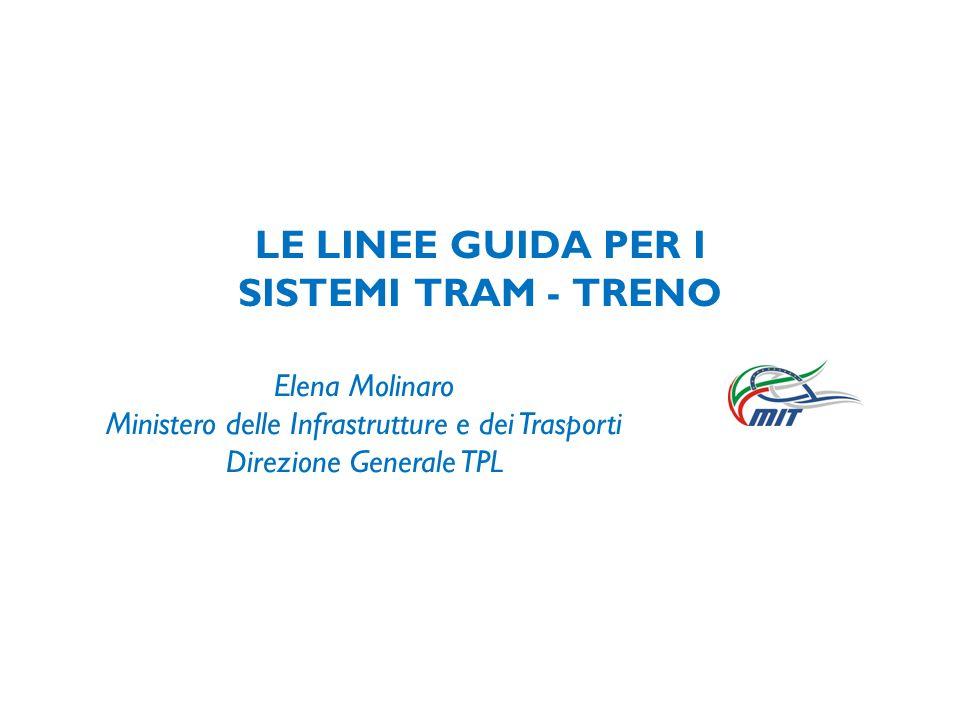 LE LINEE GUIDA PER I SISTEMI TRAM - TRENO Elena Molinaro Ministero delle Infrastrutture e dei Trasporti Direzione Generale TPL