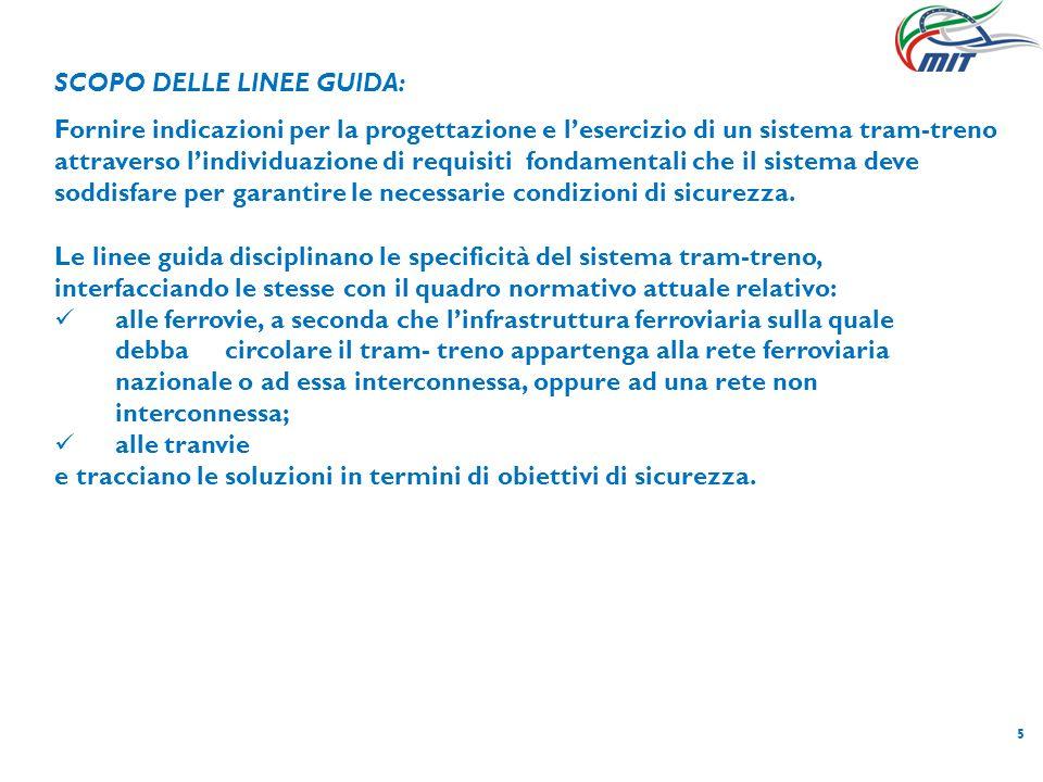5 SCOPO DELLE LINEE GUIDA: Fornire indicazioni per la progettazione e lesercizio di un sistema tram-treno attraverso lindividuazione di requisiti fond