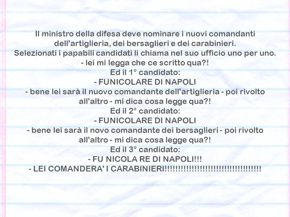 Il ministro della difesa deve nominare i nuovi comandanti dell artiglieria, dei bersaglieri e dei carabinieri.