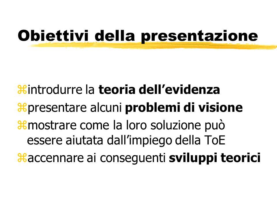 Obiettivi della presentazione zintrodurre la teoria dellevidenza zpresentare alcuni problemi di visione zmostrare come la loro soluzione può essere aiutata dallimpiego della ToE zaccennare ai conseguenti sviluppi teorici