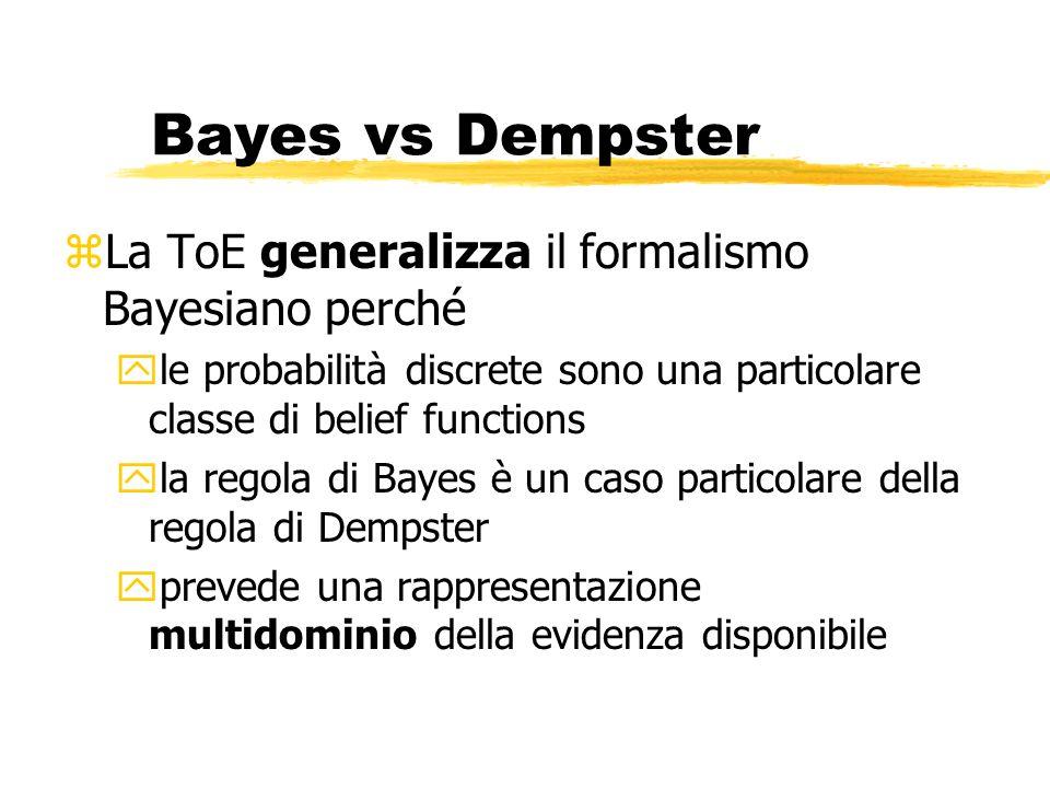 Bayes vs Dempster zLa ToE generalizza il formalismo Bayesiano perché yle probabilità discrete sono una particolare classe di belief functions yla regola di Bayes è un caso particolare della regola di Dempster yprevede una rappresentazione multidominio della evidenza disponibile