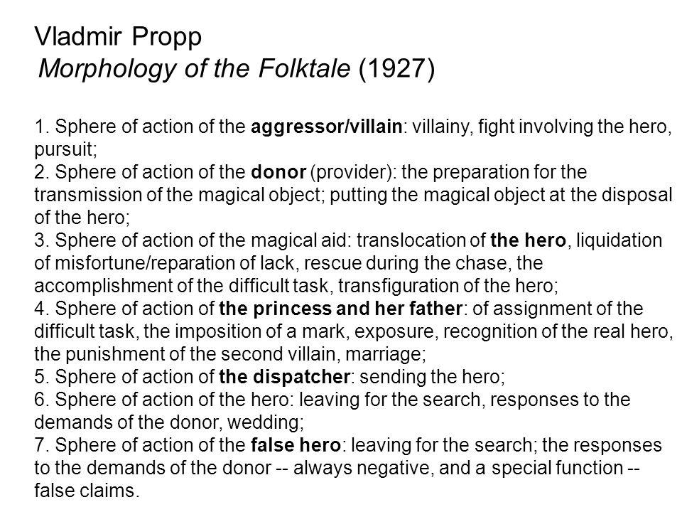 Vladmir Propp Morphology of the Folktale (1927) 1. Sphere of action of the aggressor/villain: villainy, fight involving the hero, pursuit; 2. Sphere o