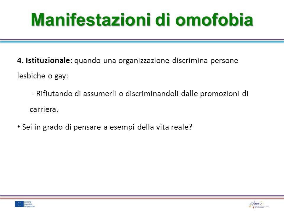 4. Istituzionale: quando una organizzazione discrimina persone lesbiche o gay: - Rifiutando di assumerli o discriminandoli dalle promozioni di carrier