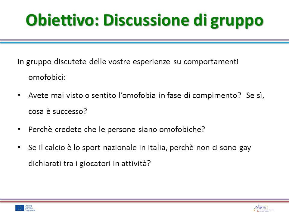 In gruppo discutete delle vostre esperienze su comportamenti omofobici: Avete mai visto o sentito lomofobia in fase di compimento? Se sì, cosa è succe