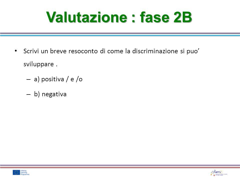 Valutazione : fase 2B Scrivi un breve resoconto di come la discriminazione si puo sviluppare.