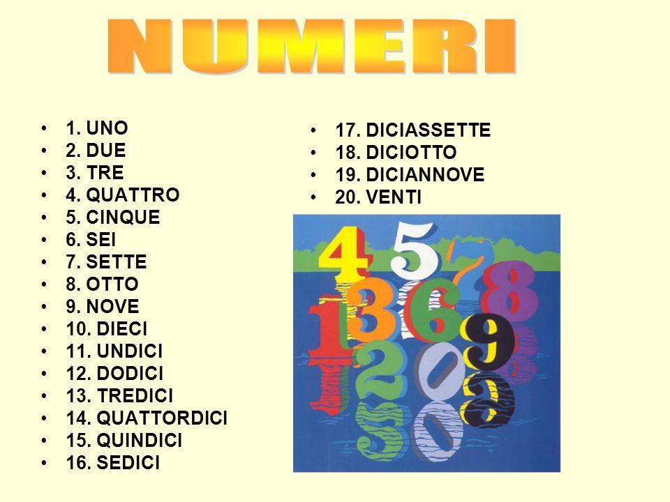 1. UNO 2. DUE 3. TRE 4. QUATTRO 5. CINQUE 6. SEI 7. SETTE 8. OTTO 9. NOVE 10. DIECI 11. UNDICI 12. DODICI 13. TREDICI 14. QUATTORDICI 15. QUINDICI 16.