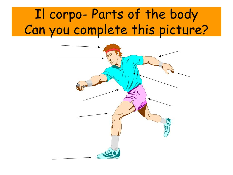 Il corpo- Parts of the body Can you complete this picture?