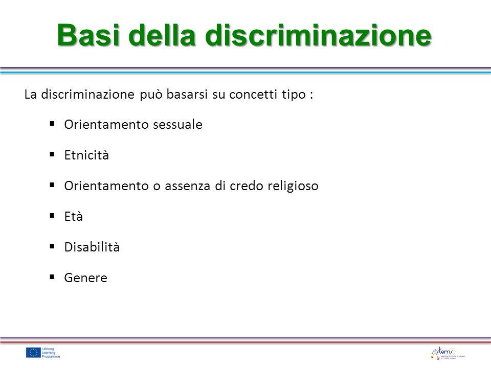 La discriminazione può basarsi su concetti tipo : Orientamento sessuale Etnicità Orientamento o assenza di credo religioso Età Disabilità Genere Basi