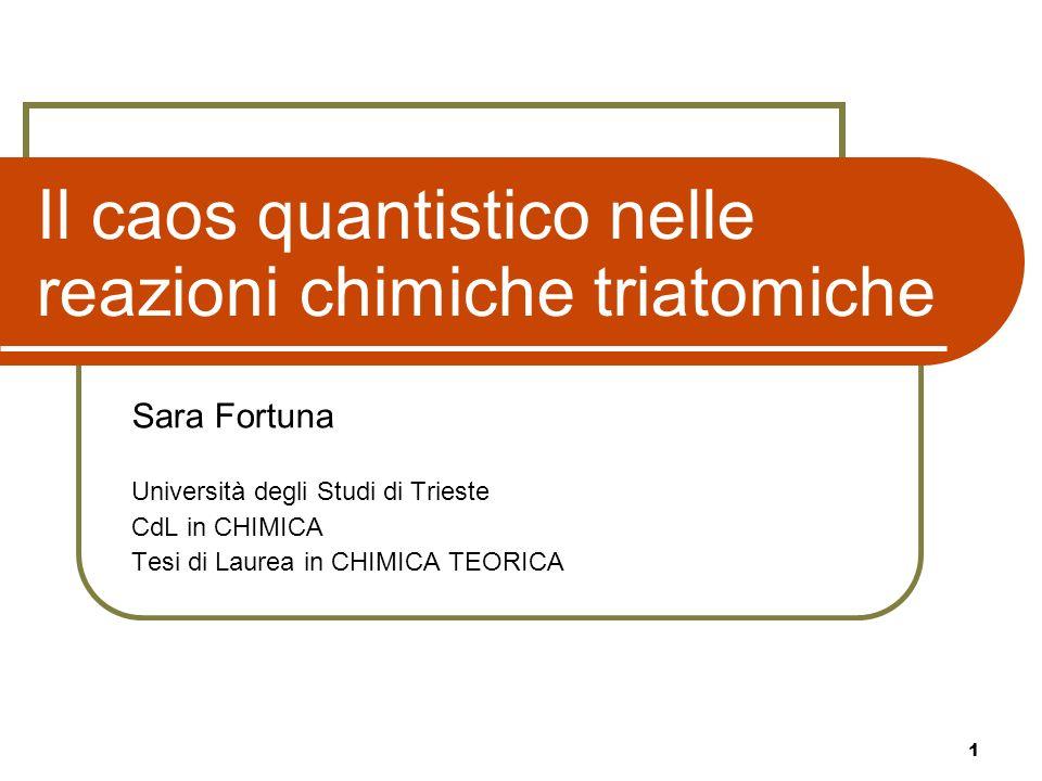 1 Il caos quantistico nelle reazioni chimiche triatomiche Sara Fortuna Università degli Studi di Trieste CdL in CHIMICA Tesi di Laurea in CHIMICA TEOR
