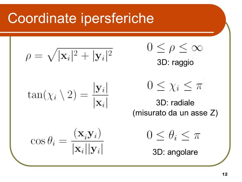 12 Coordinate ipersferiche 3D: raggio 3D: radiale (misurato da un asse Z) 3D: angolare