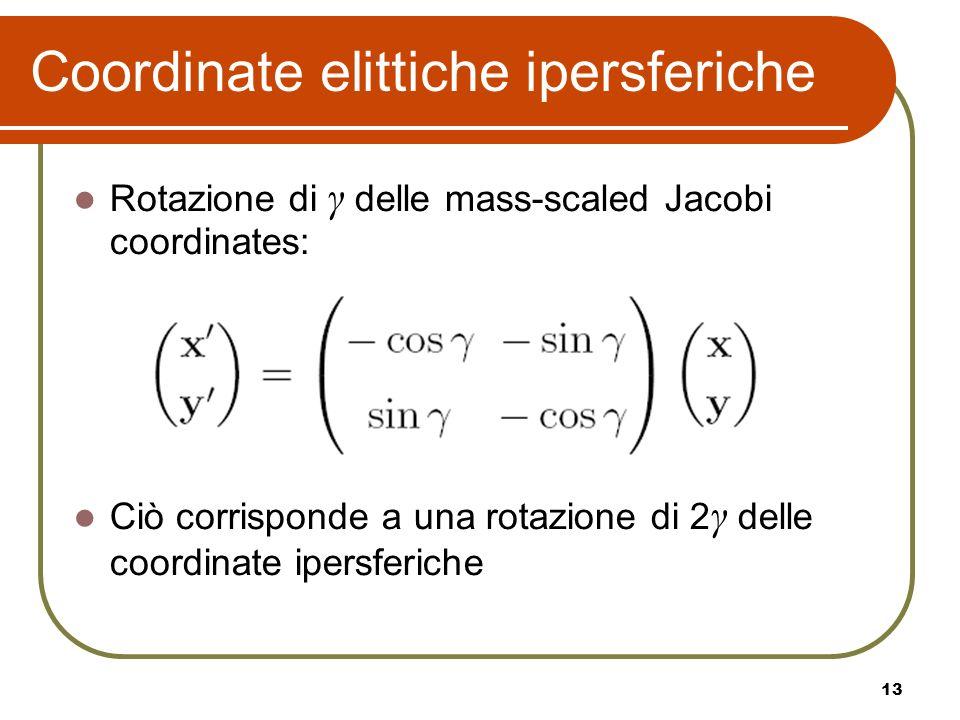 13 Coordinate elittiche ipersferiche Rotazione di γ delle mass-scaled Jacobi coordinates: Ciò corrisponde a una rotazione di 2 γ delle coordinate iper
