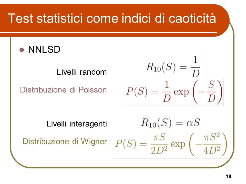 18 Test statistici come indici di caoticità NNLSD Livelli random Distribuzione di Poisson Livelli interagenti Distribuzione di Wigner