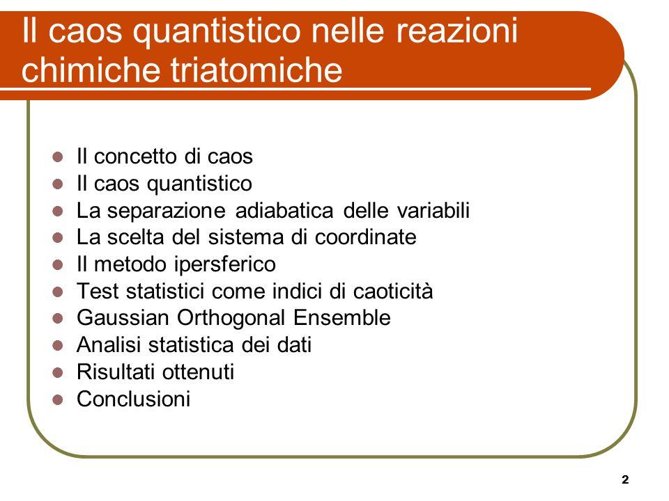 2 Il caos quantistico nelle reazioni chimiche triatomiche Il concetto di caos Il caos quantistico La separazione adiabatica delle variabili La scelta
