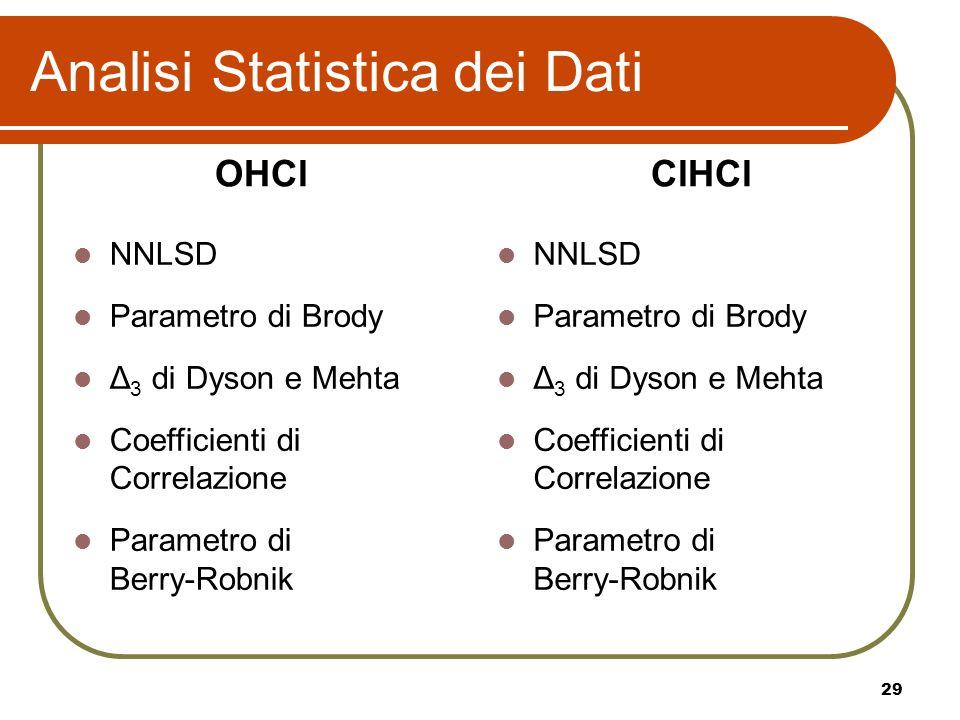 29 Analisi Statistica dei Dati NNLSD Parametro di Brody Δ 3 di Dyson e Mehta Coefficienti di Correlazione Parametro di Berry-Robnik NNLSD Parametro di