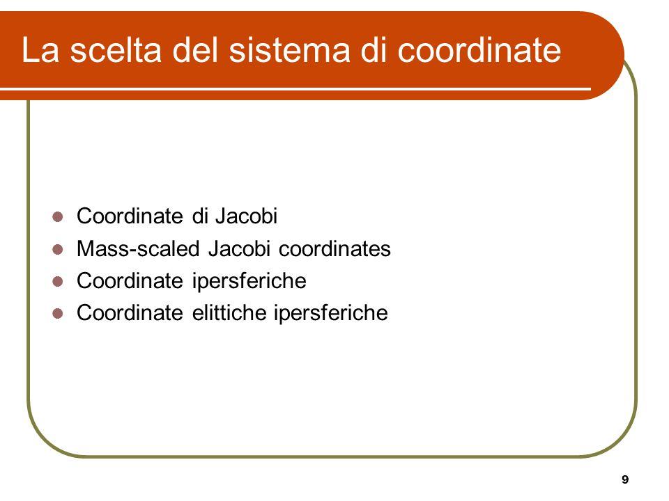 9 La scelta del sistema di coordinate Coordinate di Jacobi Mass-scaled Jacobi coordinates Coordinate ipersferiche Coordinate elittiche ipersferiche