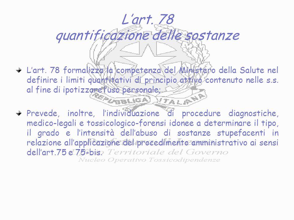 Lart. 78 quantificazione delle sostanze Lart.