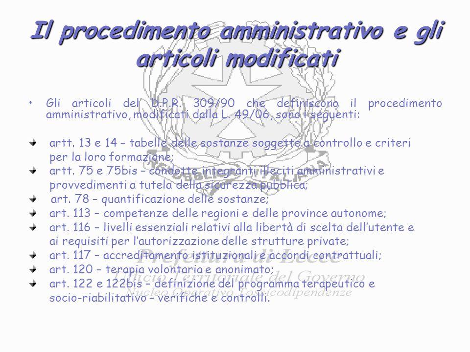 Il procedimento amministrativo e gli articoli modificati Gli articoli del D.P.R.