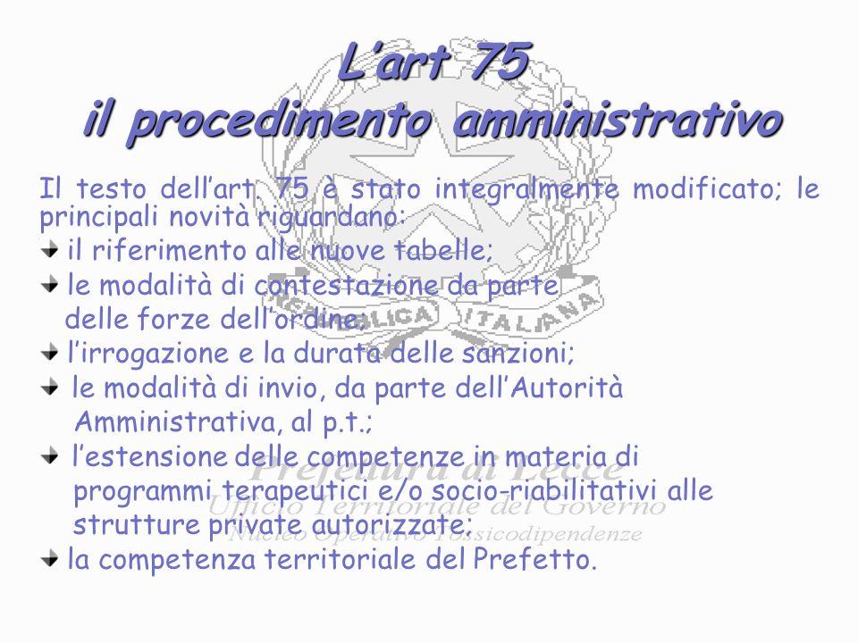 Lart 75 il procedimento amministrativo Il testo dellart.