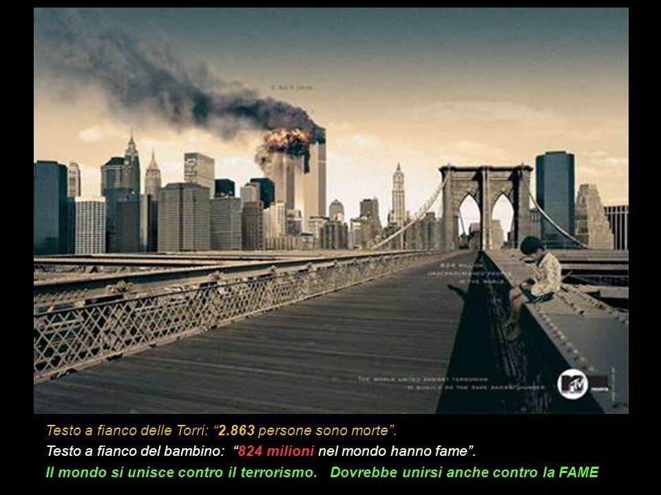 Testo a fianco delle Torri: 2.863 persone sono morte.