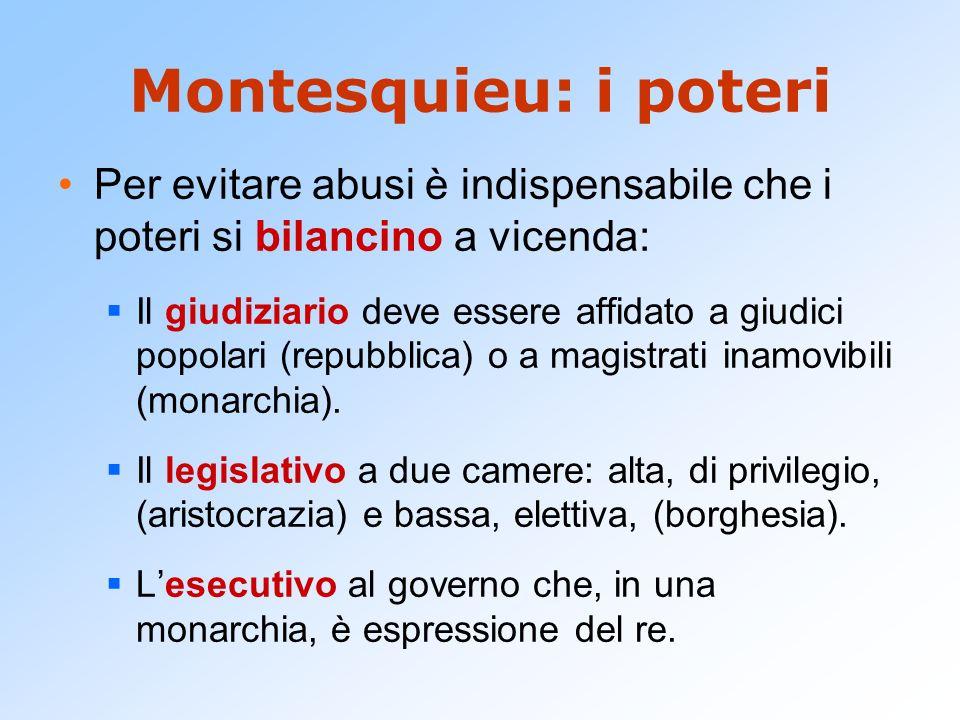 Montesquieu: i poteri Per evitare abusi è indispensabile che i poteri si bilancino a vicenda: Il giudiziario deve essere affidato a giudici popolari (repubblica) o a magistrati inamovibili (monarchia).