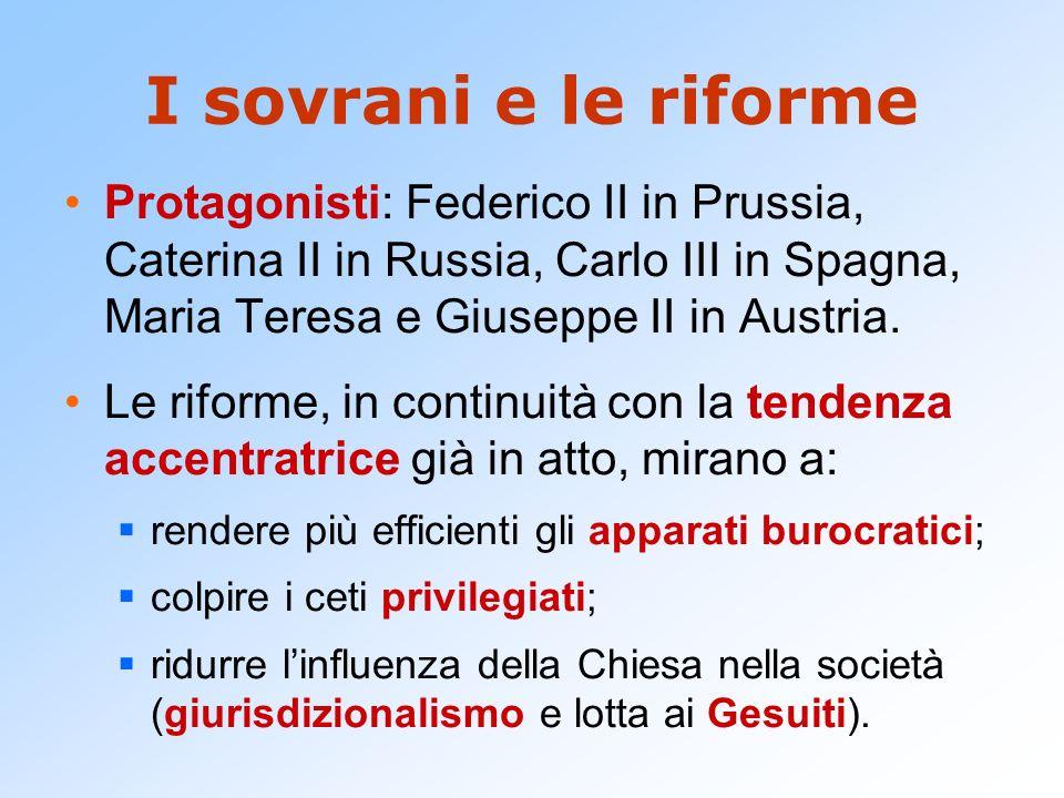I sovrani e le riforme Protagonisti: Federico II in Prussia, Caterina II in Russia, Carlo III in Spagna, Maria Teresa e Giuseppe II in Austria.