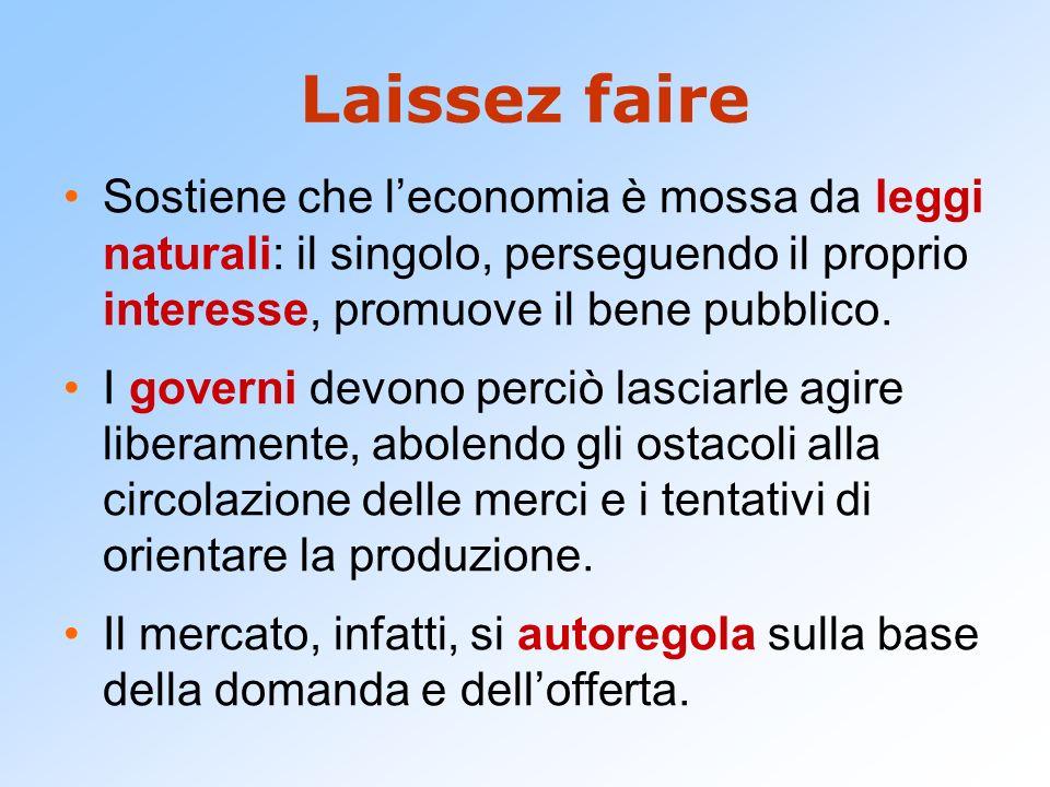 Laissez faire Sostiene che leconomia è mossa da leggi naturali: il singolo, perseguendo il proprio interesse, promuove il bene pubblico.