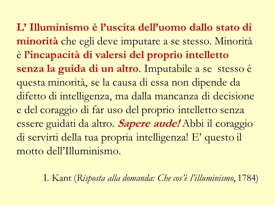 L Illuminismo è luscita delluomo dallo stato di minorità che egli deve imputare a se stesso.