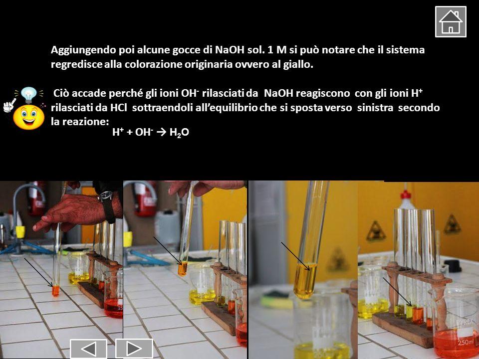 Aggiungendo poi alcune gocce di NaOH sol. 1 M si può notare che il sistema regredisce alla colorazione originaria ovvero al giallo. Ciò accade perché